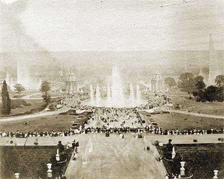 A view of the fountains from the terrace of the Crystal Palace